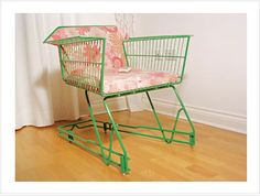 Shopping Trolley Chair - how cool is this! Would be great outdoor furniture & the thrift store is selling some of theirs right now!!