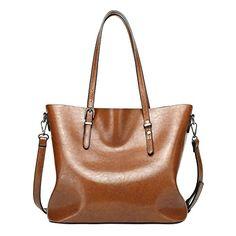 b7383021bd XW COSTUME Women s PU Leather Large Handbag   Shoulder Bag Brown