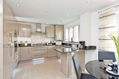 taylor wimpey kitchen with granite - Google Search Family Kitchen, Kitchen Living, Kitchen Decor, Kitchen Ideas, Living Room, Symphony Kitchen, Kitchen Diner Extension, Bungalow Kitchen, Miller Homes