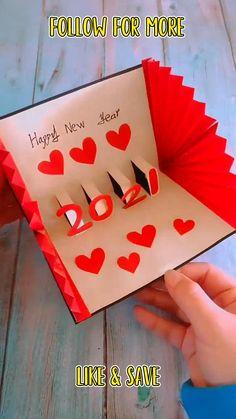 Paper Crafts Origami, Diy Crafts For Gifts, Paper Crafts For Kids, Pop Up Valentine Cards, Diy Valentine's Day Pop Up Cards, Greeting Cards Handmade, New Year Cards Handmade, Pop Up Greeting Cards, Card Making