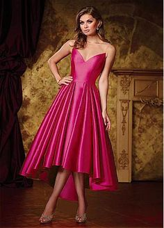 Simple Satin & Tulle Jewel Neckline Hi-Lo A-Line Prom Dresses With Pleats