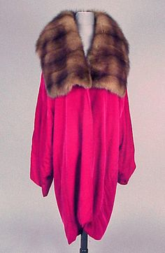 Cherry Red Velvet and Sable Evening Coat  1920s   Cocoon shape, with low dolman sleeves, wide square fur collar, labeled: Bergdorf Goodman.