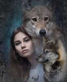 Native American Beliefs, Native American Wolf, Beautiful Wolves, Beautiful Dogs, Wolves And Women, Wolf Love, Wolf Tattoos, Girl And Dog, Double Exposure