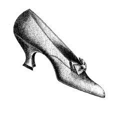 Digital Stamp Design: Women's Vintage Shoe Fashion 1908 Slipper Digital Clip Art