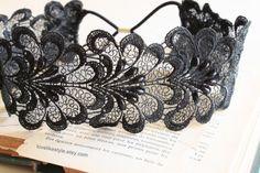 Black  Beaded Flower Lace Elastic Headband  by lovelikestyle, $17.00