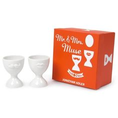 """""""think Easter Sunday morning"""" ~*~ Mr. & Mrs. egg cups from ; Johathan Adler  .#easterdecorations"""