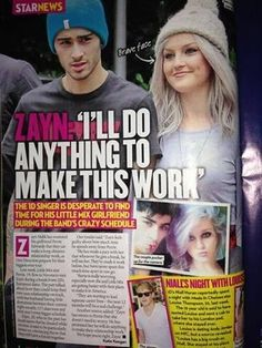 Zerrie article in star magazine One Direction Girlfriends, The Girlfriends, Change My Life, Love Of My Life, My Love, One Direction Posters, Star Magazine, Sad Heart, The Way He Looks