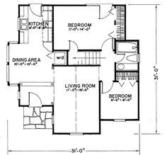 Tudor Style House Plan - 2 Beds 1 Baths 922 Sq/Ft Plan #43-103 Floor Plan - Main Floor Plan - Houseplans.com