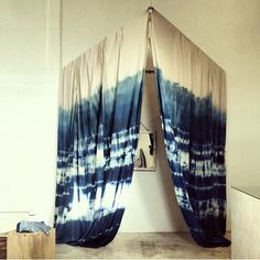 shibori indigo hand-dyed curtains // as seen at general store venice // lookout and wonderland Home And Deco, My New Room, Decoration, Interior And Exterior, Yellow Interior, Living Spaces, Living Room, Diys, Tye Dye