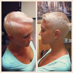Women Buzz Cuts Close Clippers | Great girl braves the barber's clippers | Play With My Hair ...