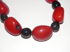 necklace with red and black  tagua nut beads and by MaisonDelclef