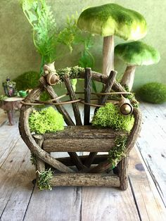 Miniature fairy bench and coffee table fairy furniture set