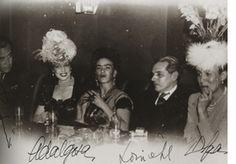 Kahlo and friends Rufino Tamayo, Adalgisa Nery, Lourival Fontes and Olga Tamayo, out for the evening circa 1945.