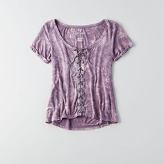 AE Soft & Sexy Lace-Up T-Shirt ($30) ❤ liked on Polyvore featuring tops, t-shirts, purple, v neck jersey, purple top, sexy tops, short sleeve v neck t shirt and v-neck tee