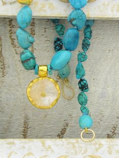24k Gold Turquoise & Crystal Necklace  Moon and Star   by Omiya, $349.00