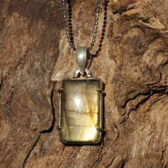 Labradorite square pendant necklace with 9 oxidized silver chain