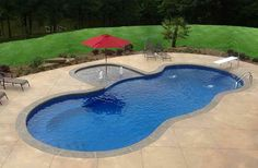 Having a pool sounds awesome especially if you are working with the best backyard pool landscaping ideas there is. How you design a proper backyard with a pool matters. Inground Pool Designs, Swimming Pool Designs, Small Inground Pool Cost, Vinyl Pools Inground, Swimming Pool House, My Pool, Kidney Shaped Pool, Living Pool, Pool Umbrellas