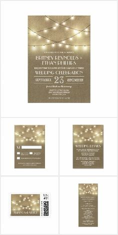 Rustic Country String Lights & Burlap WEDDING SET> Get Your Stamps, Invitations, RSVP, Address Labels & More with one click! YOU CHOOSE~ Easy online ordering and customizing! ** Save 15% or more with site sales and coupon codes!  #wedding #rustic #country #lights