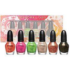Sephora by OPI: Bohemian Brights Mini Nail Colour Set... I'm in the process of getting rid of all of my old nail polish (anything that I raided from my mom's drawer from the early 80's is going). This is on my wishlist for sure... I have to replace those old bottles with something, don't I?! @ The Beauty ThesisThe Beauty Thesis