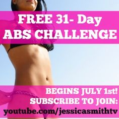 FLAT ABS FOR SUMMER!   JOIN US IN JULY FOR OUR FREE 31-DAY ABS CHALLENGE! Tag a friend and sign up together by subscribing on youtube: youtube.com/jessicasmithtv  :)