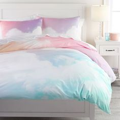 Drift off with your head in the clouds. Our Rainbow Sky Organic Duvet Cover is for the dreamer, bringing some magic and color to your sleep space. Complete the look with our Rainbow Sky Sheer Curtain. Organic Duvet Covers, Girls Duvet Covers, Twin Size Duvet Covers, Bronze Art, Teen Girl Bedrooms, Teen Girl Bedding, Dorm Bedding, Beach House Decor, Decor Room
