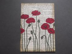 "Stampin up Stamp "" Pleasant Poppies "", "" Dictionary "" , "" Postcard """