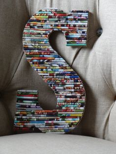 13 Inch Up-Cycled Wall Letter made with a Recycled Rolled Paper Art Collage - Great for Weddings or Home Decor