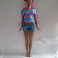 Clothing Barbie Doll Clothes Fashionista Evolution Tall Faux Denim Jean Shorts Barbie Contemporary (1973-Now)