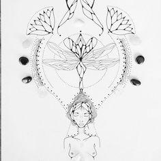 #drawing #sagrado #divine #florir #feminino #tattoo #tatuagem #ink #amor #blacklines #blacktattoos ...