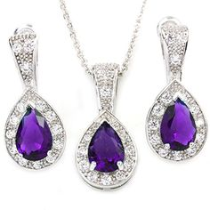FC White Gold GP Purple Cubic Zirconia Crystal Teardrop Waterdrop Necklace Earrings Jewelry Sets -- Find out more about the great product at the image link.