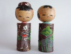 Items similar to Kokeshi dolls pair,Japanese Kokeshi dolls Bubble Head,Vintage Kokeshi dolls,Hand made,Hand painted on Etsy Kokeshi Dolls, Bubbles, Miniatures, Miniature Gardens, Hand Painted, Unique Jewelry, Japanese, Handmade Gifts, Painting