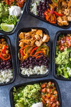 Meal-Prep Chicken Burrito Bowls-A week's worth of lunch made in just 1 hour. This time-saving meal-prep chicken burrito bowls recipe will help you get healthy lunch on the table at work, school or home quickly without sacri… Best Meal Prep, Lunch Meal Prep, Meal Prep Bowls, Meal Prep For The Week, Healthy Meal Prep, Healthy Snacks, Healthy Eating, Healthy Recipes, Keto Recipes