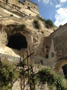 Cliff cave dwelling in Matera, Italy