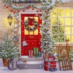 Leading Illustration & Publishing Agency based in London, New York & Marbella. Winter Christmas Scenes, Christmas Scenery, Christmas Artwork, Christmas Paintings, Christmas Wallpaper, Christmas Colors, Vintage Christmas Images, Christmas Pictures, Snoopy Christmas
