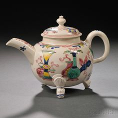 Staffordshire Enameled Salt-glazed Stoneware Teapot and Cover, England, c. 1760, globular, set on three molded peacock feet, polychrome Chinese Precious Ornaments motif, lg. 7 7/8, ht. 5 1/2 in.  Provenance: Jacobs Collection.