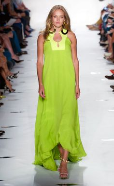 Lime green maxi dress. Diane Von Furstenberg