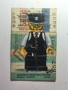 """Oil on vintage train tickets #lego """"tickets please"""""""