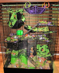 My Halloween Cage 2017 Rat Manor Pet Rat Cages, Pet Cage, Animal Care, Animal Pictures, Critter Nation Cage, Animal Room, Rodents, Pet Stuff, Halloween Diy
