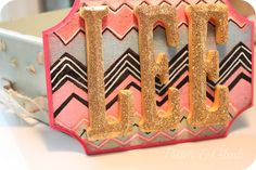 Cute glittered name plaque w/ painted chevron pattern. DIY. PitterAndGlink: {Personalized Chevron Plaque}