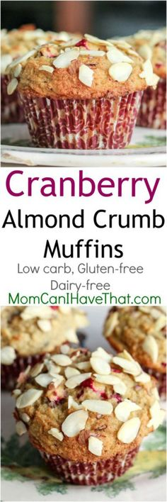 Low Carb Cranberry Almond Crumb Muffins. Perfect for breakfast or as a low carb lunch box snack! This baked recipe is Low Carb, Gluten-free, Dairy-free, THM | Low Carb Maven