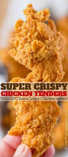 Super Crispy Chicken Tenders made with a buttermilk marinade that makes them rea. Super Crispy Chicken Tenders made with a buttermilk marinade that makes them really tender and the crispiest crust with KFC flavored spices. Chicken Finger Recipes, Crispy Chicken Recipes, Chicken Spices, Chicken Fried Chicken, Kfc Chicken Strips Recipe, Chicken Strip Recipes, Recipes With Chicken Tenders, Oven Crispy Chicken, Fried Chicken Marinade
