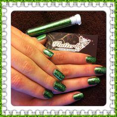 Green Emerald Shellac nails @ Flutterby Salon