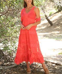 Look what I found on #zulily! Coral Eyelet Midi Dress & Shrug #zulilyfinds