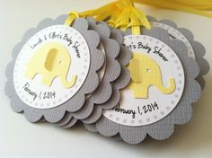 20 Yellow and Grey Elephant Personalized by PaperTrailbyLauraB, $25.00