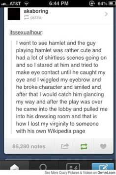 Why can't this happen to me?? Except losing the virginity in the dressing room. Doesn't sound very comfortable