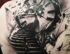Abstract black and gray Time tattoo by artist Timur Lysenko