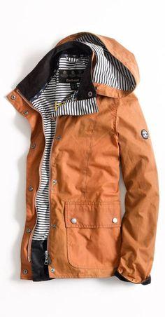 Barbour Stripe + Caramel jacket