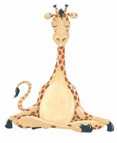 meditating giraffe cartoon hand-painted illustration