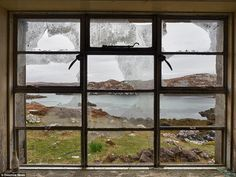 This eerie photo was taken from inside a crofters' cottage on the Isle of Harris - the bro...