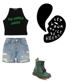 """""""sucks"""" by melancholytownn ❤ liked on Polyvore featuring beauty, River Island and Dr. Martens"""
